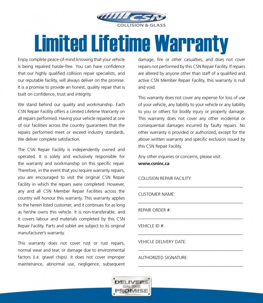 2011 Lifetime Warranty - Member (Inside)